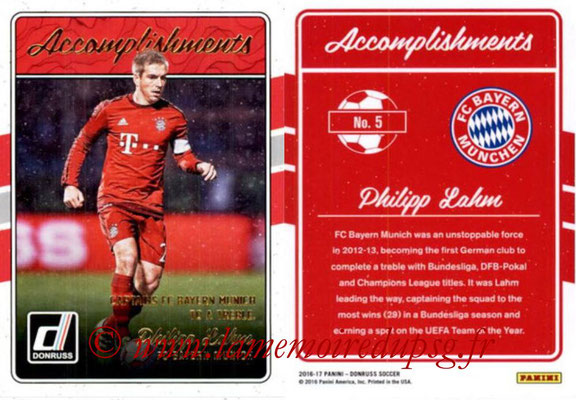 2016 - Panini Donruss Cards - N° A05 - Philipp LAHM (FC Bayern Munich) (Accomplishments)