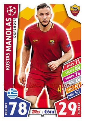 2017-18 - Topps UEFA Champions League Match Attax - N° 386 - Kostas MANOLAS (AS Roma)