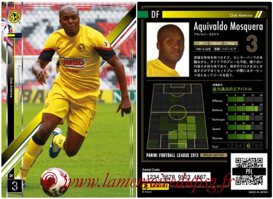 Panini Football League 2013 - PFL01 - N° 167 - Aquivaldo Mosquera ( Club América )