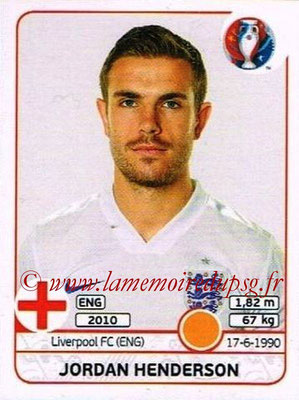 Panini Euro 2016 Stickers - N° 138 - Jordan HENDERSON (Angleterre)