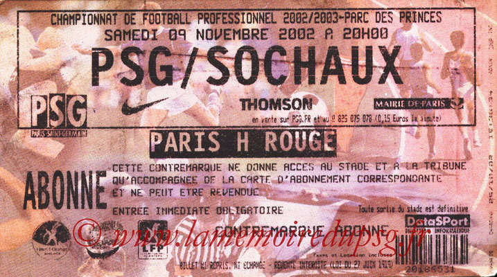 Tickets  PSG-Sochaux  2002-03