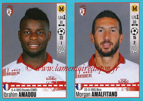 2016-17 - Panini Ligue 1 Stickers - N° 282 + 283 - Ibrahim AMADOU + Morgan AMALFITANO (Lille)