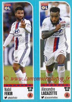 2016-17 - Panini Ligue 1 Stickers - N° 354 + 355 - Nabil FEKIR + Alexandre LACAZETTE (Lyon)