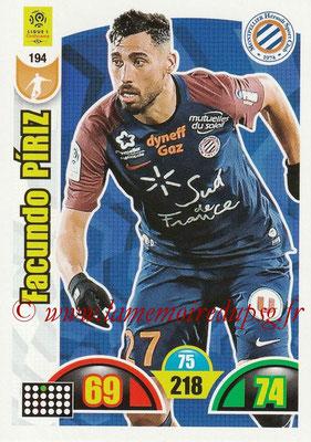 2018-19 - Panini Adrenalyn XL Ligue 1 - N° 194 - Facundo PIRIZ (Montpellier)