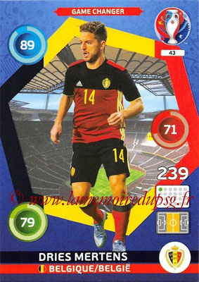 Panini Euro 2016 Cards - N° 043 - Dries MERTENS (Belgique) (Game Changer)