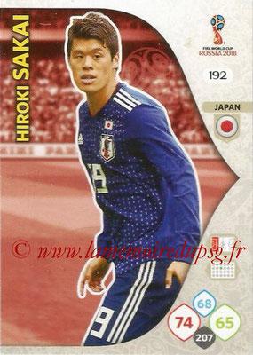 2018 - Panini FIFA World Cup Russia Adrenalyn XL - N° 192 - Hiroki SAKAI (Japon)