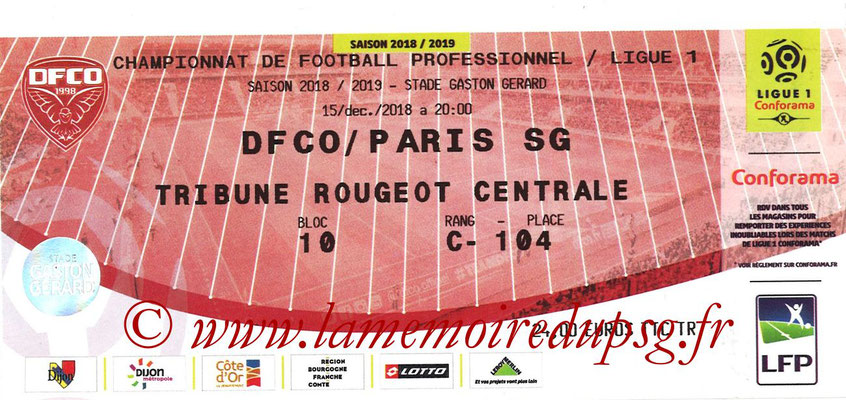 Ticket  Dijon-PSG  2018-19