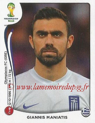 2014 - Panini FIFA World Cup Brazil Stickers - N° 208 - Giannis MANIATIS (Grèce)
