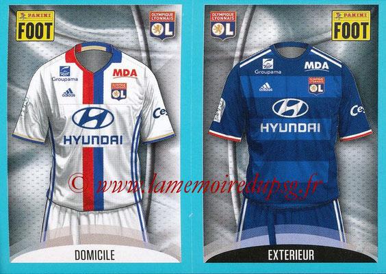 2016-17 - Panini Ligue 1 Stickers - N° 342 + 343 - Maillot Domicile + Extérieur (Lyon)