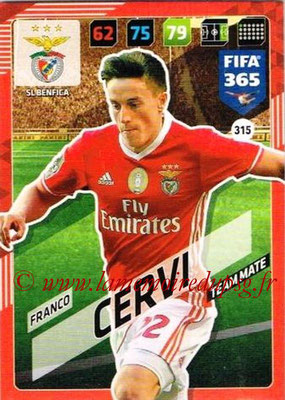 2017-18 - Panini FIFA 365 Cards - N° 315 - Franco CERVI (SL Benfica)