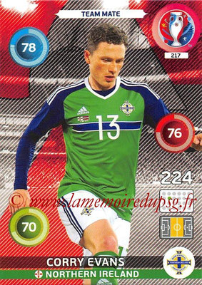 Panini Euro 2016 Cards - N° 217 - Corry EVANS (Irlande du Nord)
