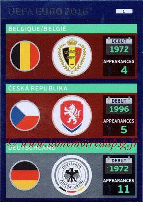 Panini Euro 2016 Cards - N° 001 - Equipes Belgique + République Tchèque + Allemagne