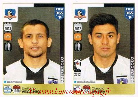 2015-16 - Panini FIFA 365 Stickers - N° 245-246 - Emiliano VECCHIO + Claudio BAEZA (Colo Colo)