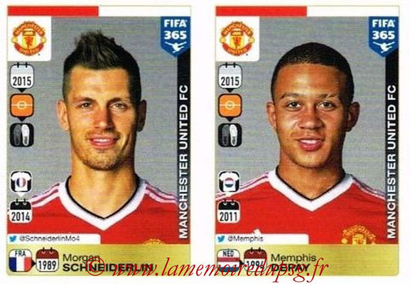 2015-16 - Panini FIFA 365 Stickers - N° 333-334 - Morgan SCHNEIDERLIN + Memphis DEPAY(Manchester United FC)