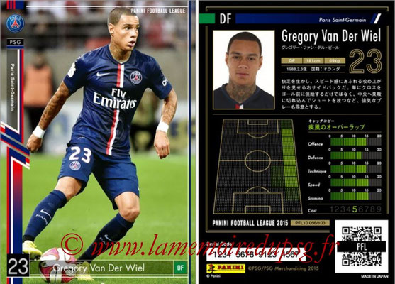 Panini Football League 2015 - PFL10 - N° 056 - Grégory VAN DER WIEL (Paris Saint-Germain)