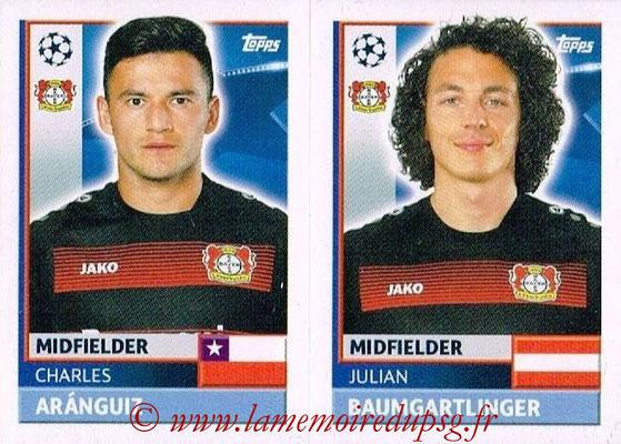 2016-17 - Topps UEFA Champions League Stickers - N° LEV 10-11- Julian BRANDT + Karim BELLARABI (Bayer 04 Leverkusen)