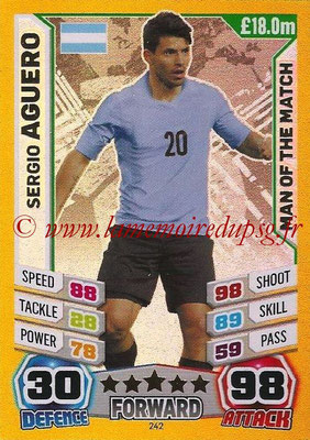Topps Match Attax England 2014 - N° 242 - Sergio AGUERO (Argentine) (Man Of The Match)