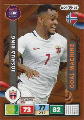 2018 - Panini Road to FIFA World Cup Russia Adrenalyn XL - N° NOR05 - Joshua KING (Norvège) (Goal Machine)