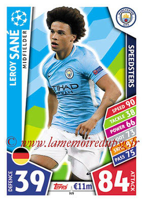 2017-18 - Topps UEFA Champions League Match Attax - N° N09 - Leroy SANE (Manchester City FC) (Speedster) (Nordic Edition)