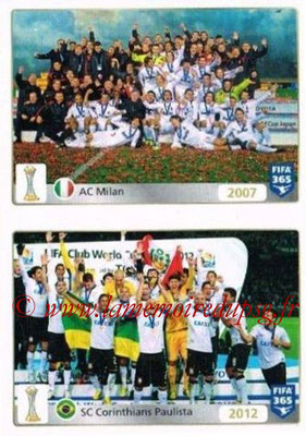 2015-16 - Panini FIFA 365 Stickers - N° 019-020 - Milan AC (2007) + SC Corinthians Paulista (2012) (FIFA Club World Cup)