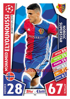 2017-18 - Topps UEFA Champions League Match Attax - N° N05 - Mohamed ELYOUNOUSSI (FC Bâle) (Nordic Superstar)(Nordic Edition)