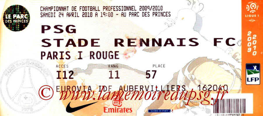 Ticket  PSG-Rennes  2009-10