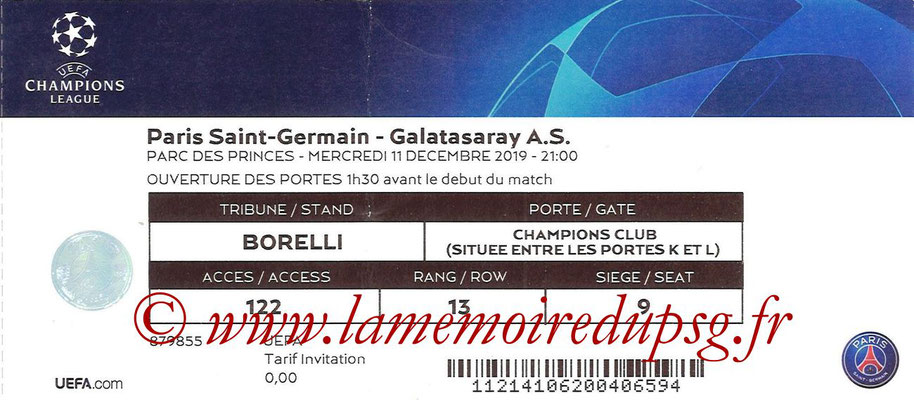 Ticket  PSG-Galatasaray  2019-20
