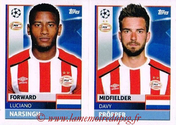 2016-17 - Topps UEFA Champions League Stickers - N° PSV 14-15 - Davy PROPPER + Luciano NARSINGH (PSV Eindhoven)