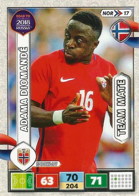 2018 - Panini Road to FIFA World Cup Russia Adrenalyn XL - N° NOR17 - Adama DIOMANDE (Norvège)