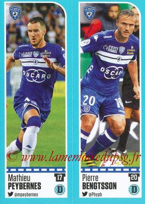 2016-17 - Panini Ligue 1 Stickers - N° 054 + 055 - Mathieu PEYBERNES + Pierre BENGTSSON (Bastia)