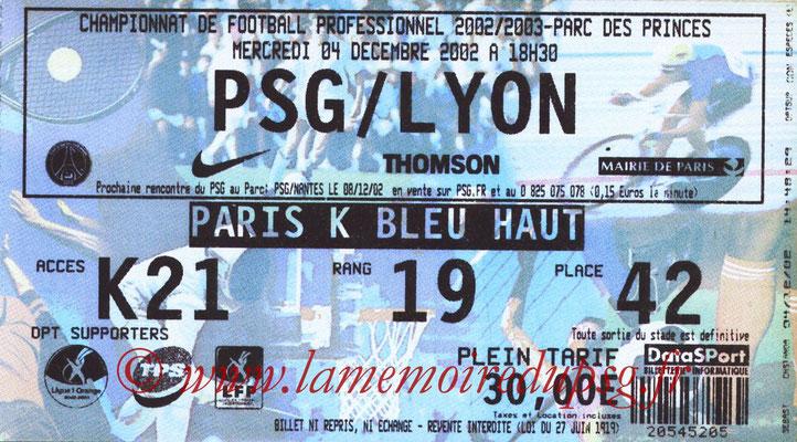 Tickets  PSG-Lyon  2002-03