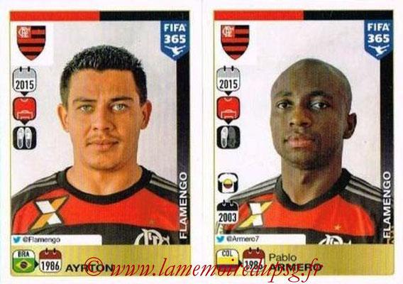 2015-16 - Panini FIFA 365 Stickers - N° 198-199 - AYRTON + Pablo ARMERO (CR Flamengo)