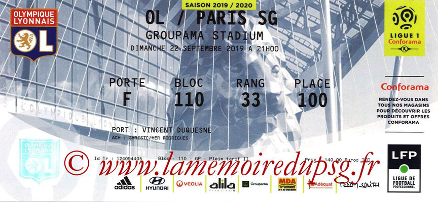 Ticket  Lyon-PSG  2019-20