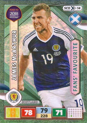 2018 - Panini Road to FIFA World Cup Russia Adrenalyn XL - N° SCO14 - James McARTHUR (Ecosse) (Fans' Favourite) (UK Version)