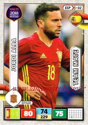 2018 - Panini Road to FIFA World Cup Russia Adrenalyn XL - N° ESP02 - Jordi ALBA (Espagne)