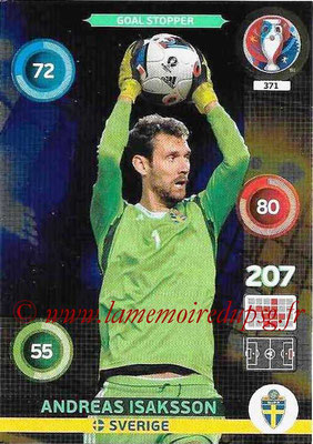 Panini Euro 2016 Cards - N° 371 - Andreas ISAKSSON (Suède) (Goal Stopper)