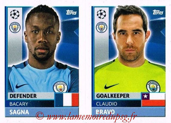 2016-17 - Topps UEFA Champions League Stickers - N° QFG 3-4 - Claudio BRAVO + Bacary SAGNA (Manchester City FC)