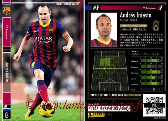 Panini Football League 2014 - PFL08 - N° 036 - Andrés INIESTA (FC Barcelone)