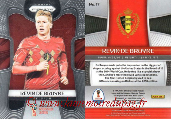 2018 - Panini Prizm FIFA World Cup Russia - N° 017 - Kevin DE BRUYNE (Belgique)