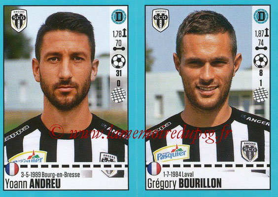 2016-17 - Panini Ligue 1 Stickers - N° 022 + 023 - Yoann ANDREU + Grégory BOURILLON (Angers)