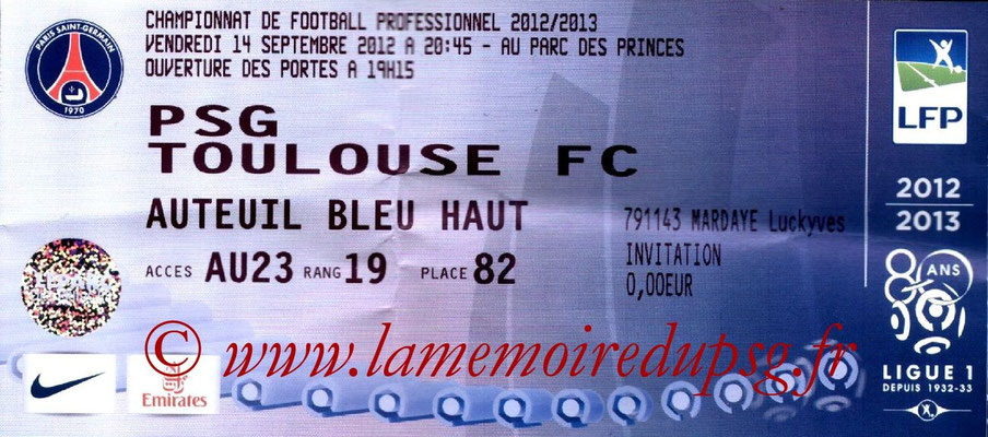 Tickets  PSG-Toulouse  2012-13