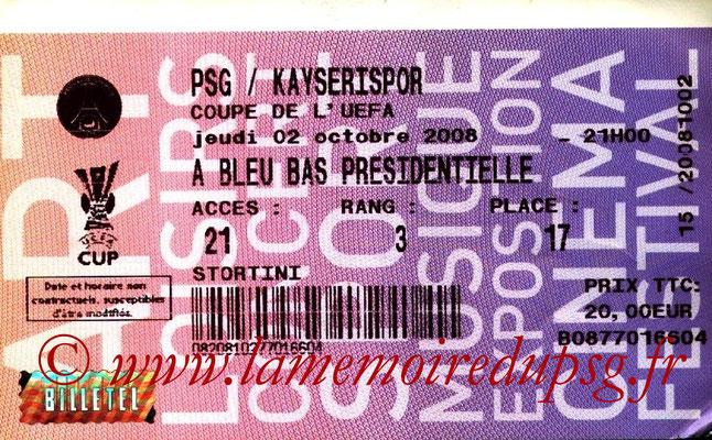 Tickets  PSG-Kayserispor  2008-09