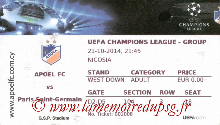 Ticket  Apoel Nicosie-PSG  2014-15