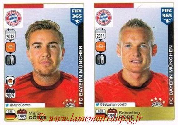 2015-16 - Panini FIFA 365 Stickers - N° 483-484 - Mario GÖTZE + Sebastian RODE (FC Bayern Munich)