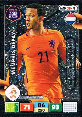 2018 - Panini Road to FIFA World Cup Russia Adrenalyn XL - N° NED13 - Memphis DEPAY (Pays-Bas) (Game Changer)