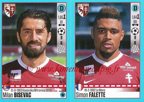 2016-17 - Panini Ligue 1 Stickers - N° 444 + 445 - Milan BISEVAC + Simon FALETTE (Metz)
