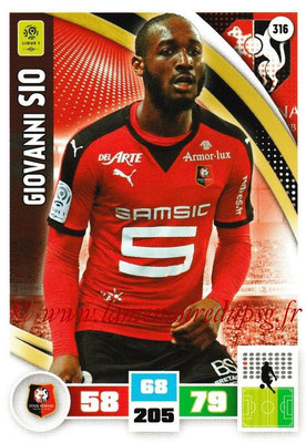 2016-17 - Panini Adrenalyn XL Ligue 1 - N° 316 - Giovanni SIO (Rennes)