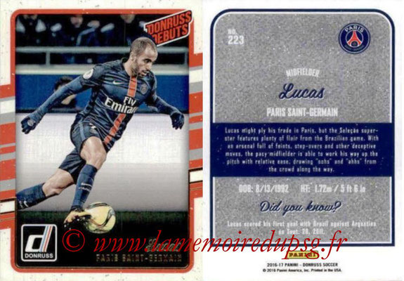 2016 - Panini Donruss Cards - N° 223 - LUCAS (Paris Saint-Germain) (Donruss Debuts)