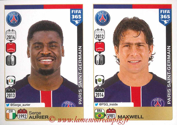 2015-16 - Panini FIFA 365 Stickers - N° 438-439 - Serge AURIER + MAXWELL (Paris Saint-Germain)