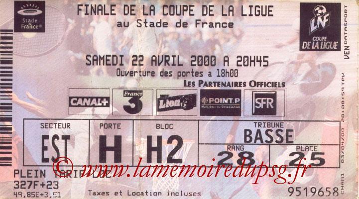 Tickets  PSG-Gueugnon  1999-00